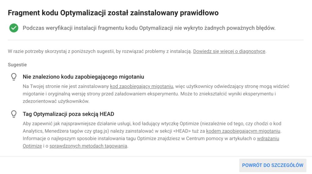 Połączenie Google Ads z Google Optimize