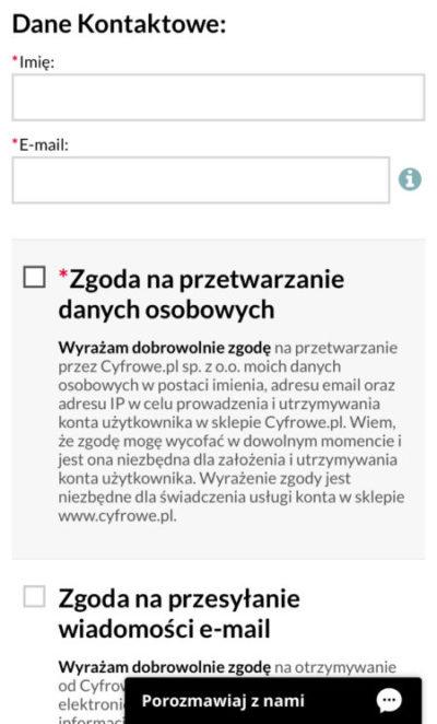 formularz pod mobile sklep internetowy