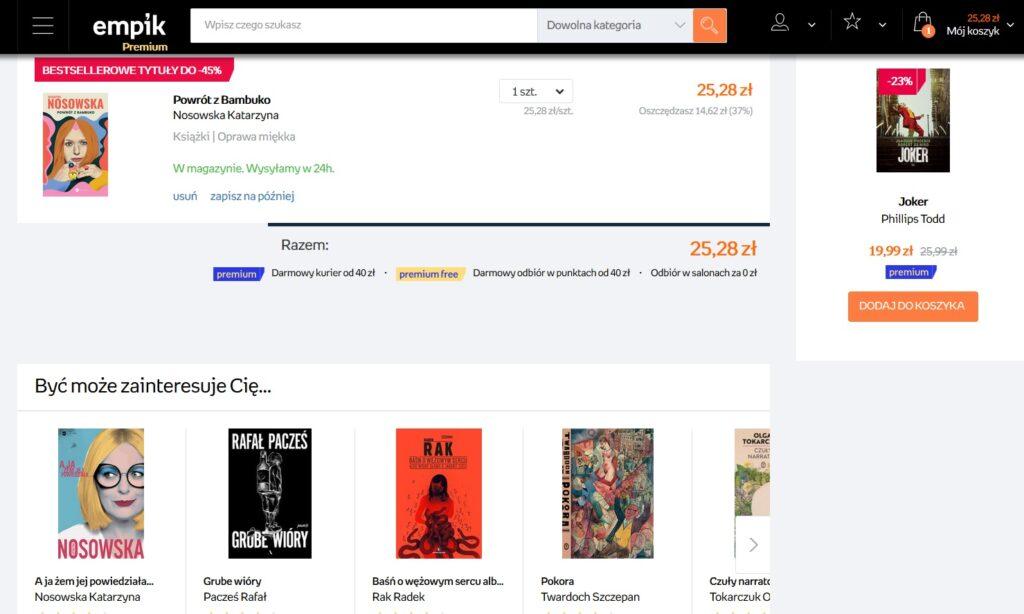 Screen z koszyka zakupowego i cross-sellingu w Empiku.